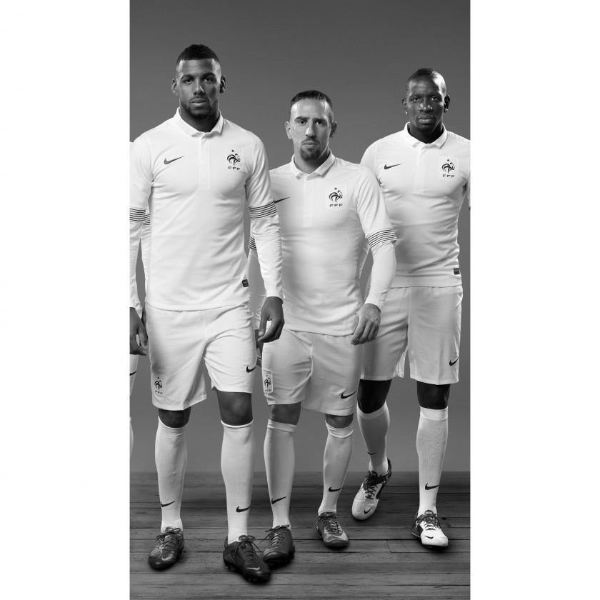 Spieler der franzsischen Nationalmannschaft im neuen Auswrtstrikot der Equipe Tricolore 2012 u.a.Yann MVila und Frank Ribery