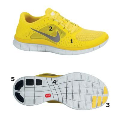 Nike Free Run+ 3 Natural Running Schuh - Seite/Sohle yellow 2012