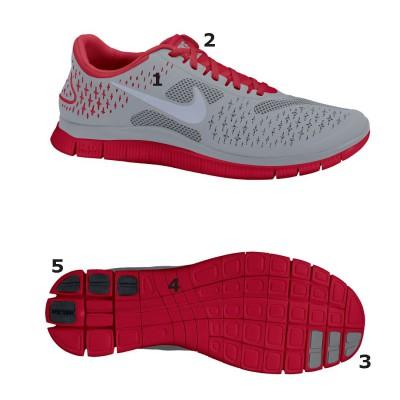 Nike Free Run 4.0 V2 Natural Running Schuh - Seite/Sohle grey/red 2012