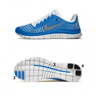 Nike Free Run 3.0 V4 Natural Running Schuh - Seite/Sohle blue 2012