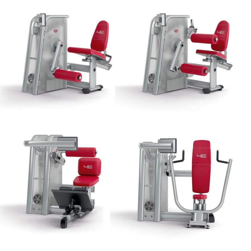 Motorisierte, isokinetische Kraftgertelinie 4E: Beinstrecker, Beinbeuger, Bauch- und Bankdrckmaschine