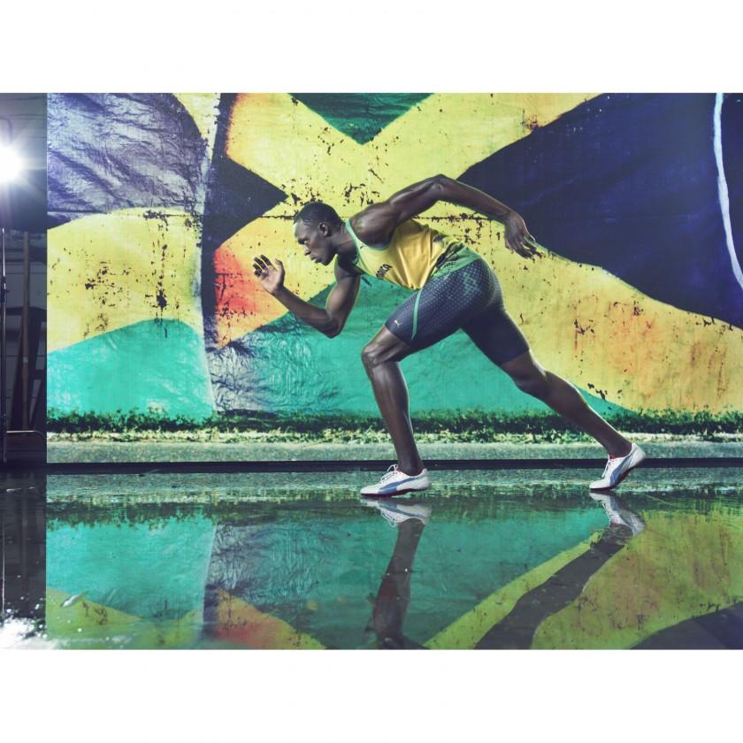 Usain Bolt in seinen evoSPEED Sprintschuhen 2012