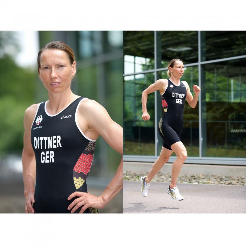 Anja Dittmer im Asics Hightech-Triathlon-Anzug für Olympia 2012