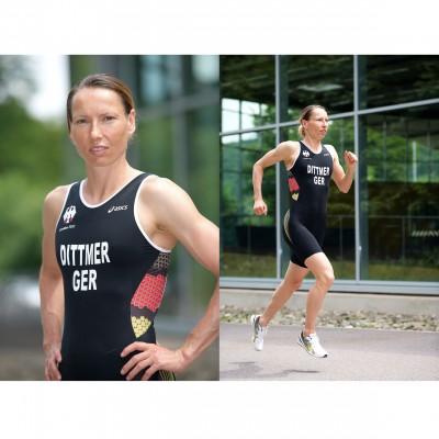 Anja Dittmer im Asics Hightech-Triathlon-Anzug fr Olympia 2012