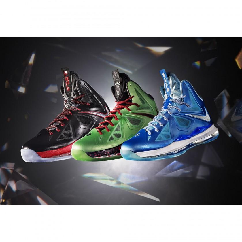 LEBRON X+ Basketballschuh black/green/blue 2012