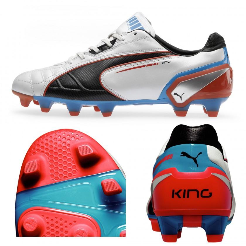 PUMA King FG Fußballschuh side/pebax sole/heel cap white/black/blue 2013