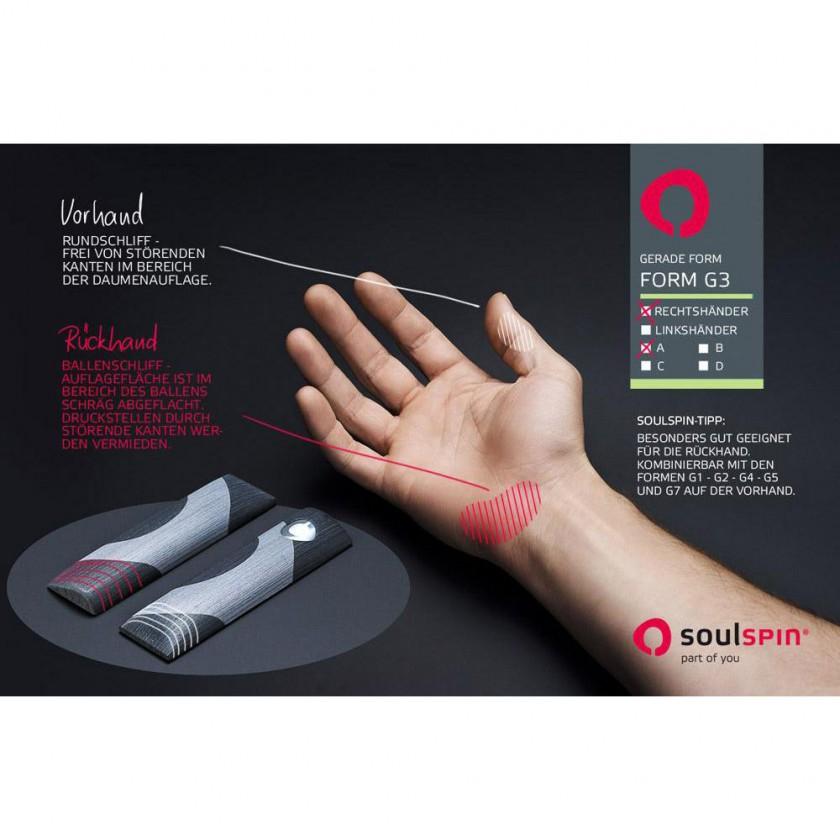 Beispiel einer ergonomisch geformten 3D-Griffform von SOULSPIN und ihre Auswirkungen auf die Hand.