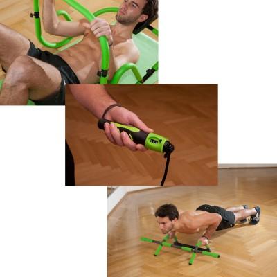 Fitness-Produkte der Marke Schildkrt Fitness 2013: AB-Trainer, Jumprope, Multifunktions-Trreck