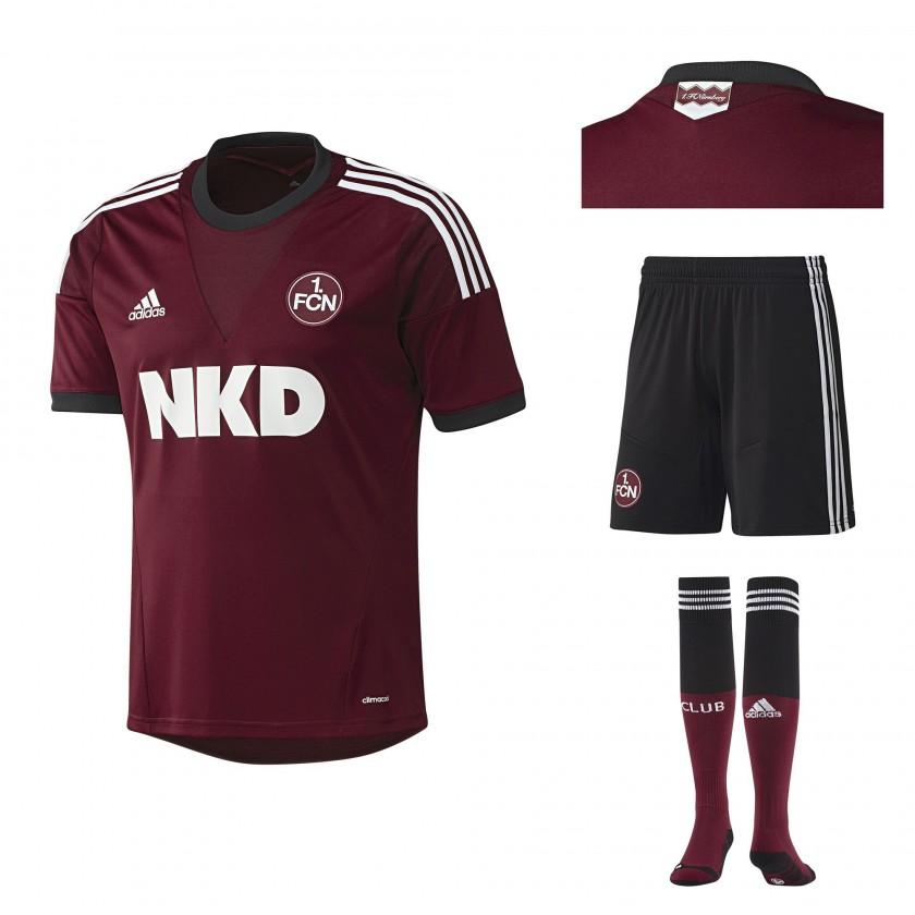 Heimtrikot, -hose und -socken des 1. FC N�rnberg f�r die Fu�ball-Bundesliga-Saison 2013/14 von adidas