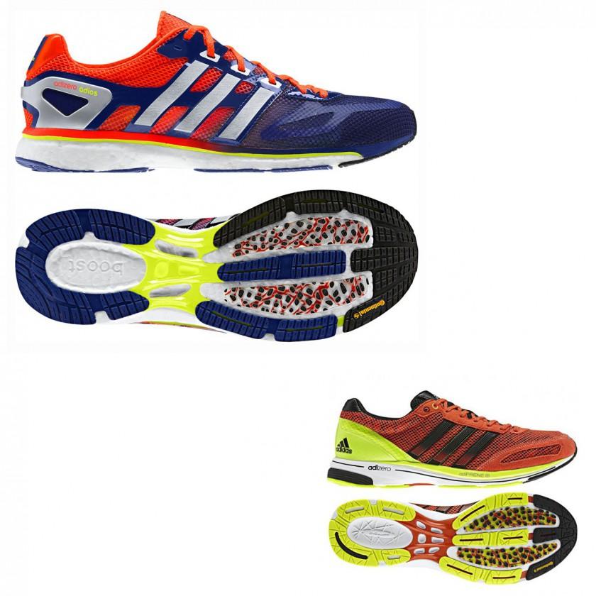 25a126161571e9 adidas adizero adios boost Laufschuh 2013 und adizero adios 2 Laufschuhe  von 2012 mit Continental Laufsohle