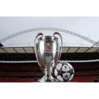 UEFA Champions League Pokal und der Offizieller adidas Spielball des Finals 2013 im Wembley-Stadion