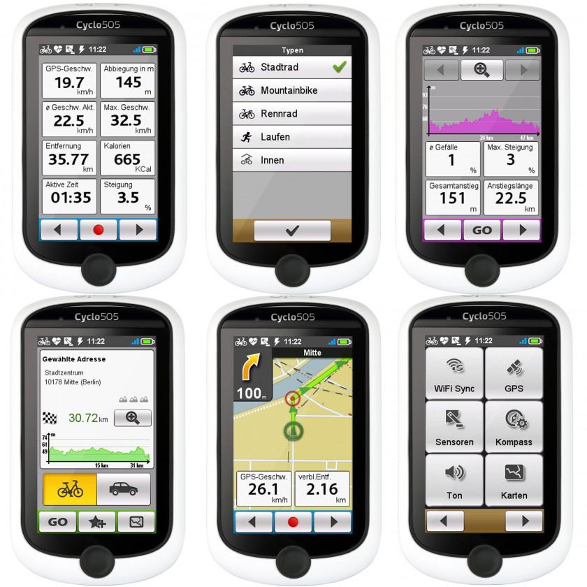 Cyclo 505 GPS-Fahrrad-Navigationsgeräte - verschiedene Display Ansichten 2013 von Mio