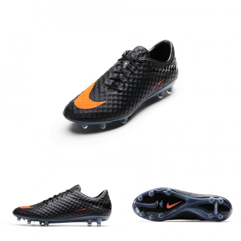 Hypervenom Fussballschuh mit ACC Technologie in schwarz und orangen Swoosh 2013 von Nike
