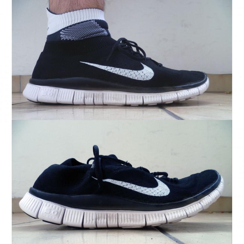 Nike Free Flyknit Laufschuh: seitliche Ansicht belastet und unbelastet nach dem 1. Lauf 2013