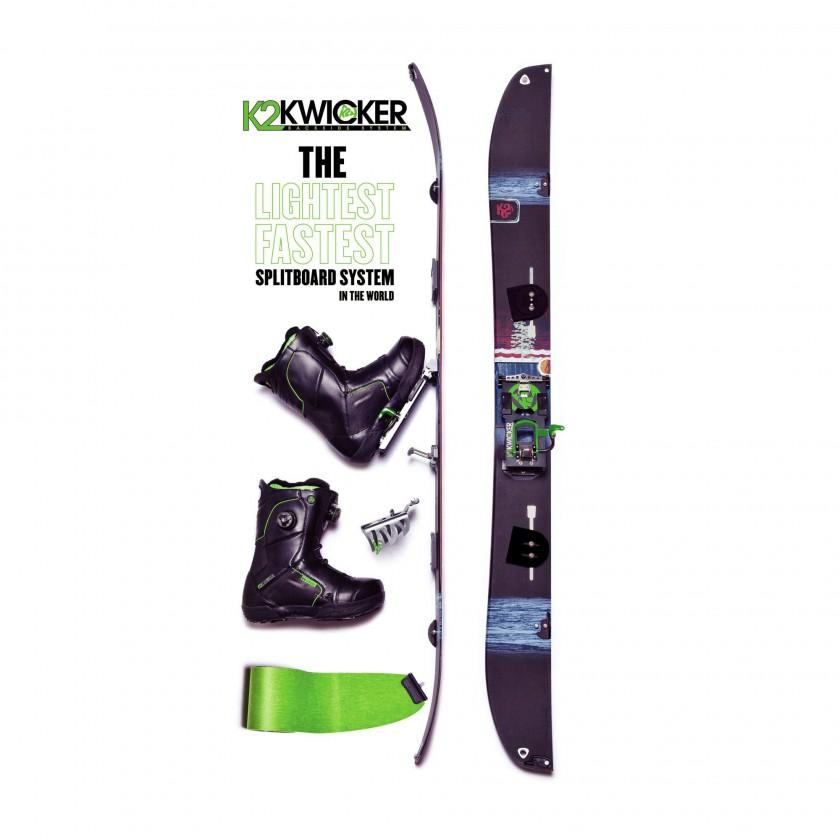 K2 Kwicker Set aus Ultra Split Snowboard, Schuhe, Kwicker BC Bindung, Kwicker Crampon und Splitboard Skins 2013/14
