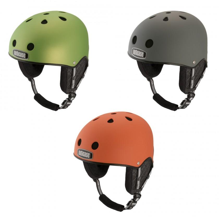Snow Sport-Helme: Chartreuse Metallic, Shark Skin, Dutch Orange Matte 2014/15 von NUTCASE