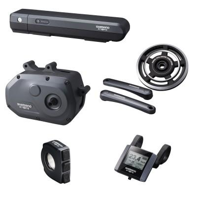 E-Bike-Komponentengruppe STePS: Akku, Antriebseinheit, Kurbelgarnitur, Schalter u.Fahrradcomputer 2014 von SHIMANO