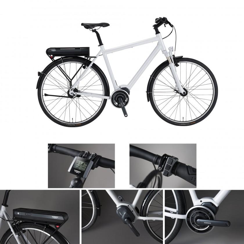 E-Bike-Komponentengruppe STePS am Fahrrad: Akku, Antriebseinheit, Kurbelgarnitur, Schalter u.Fahrradcomputer 2014 von SHIMANO