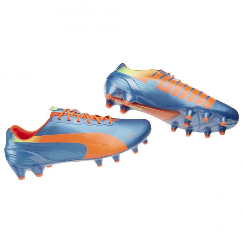 evoSPEED 1.2 FG Fussballschuh Blau, Orange und Gelb 2014 von PUMA