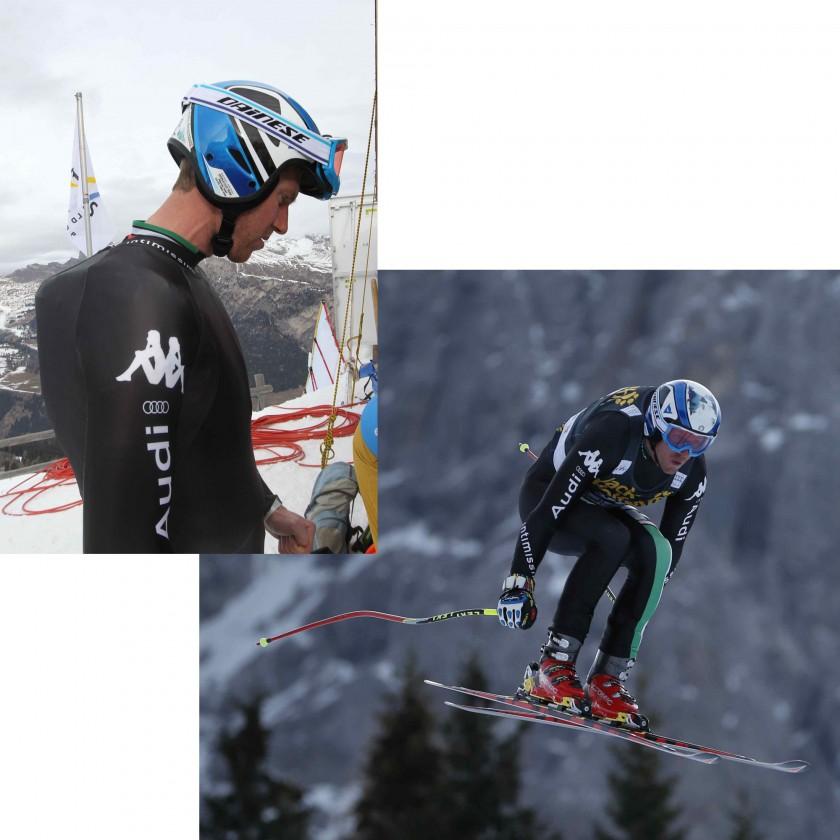 Werner Heel trgt den D-air Ski Airbag-System: vor dem Start u. bei der Abfahrt 2014 von DAINESE