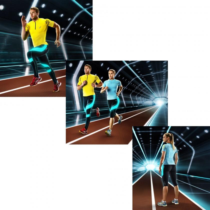 MUSCLE SUPPORT-Kollektion: Inner Muscle  Zip Top u. Leg Balance Knee Tight Laufaction Men/Women 2014 von ASICS