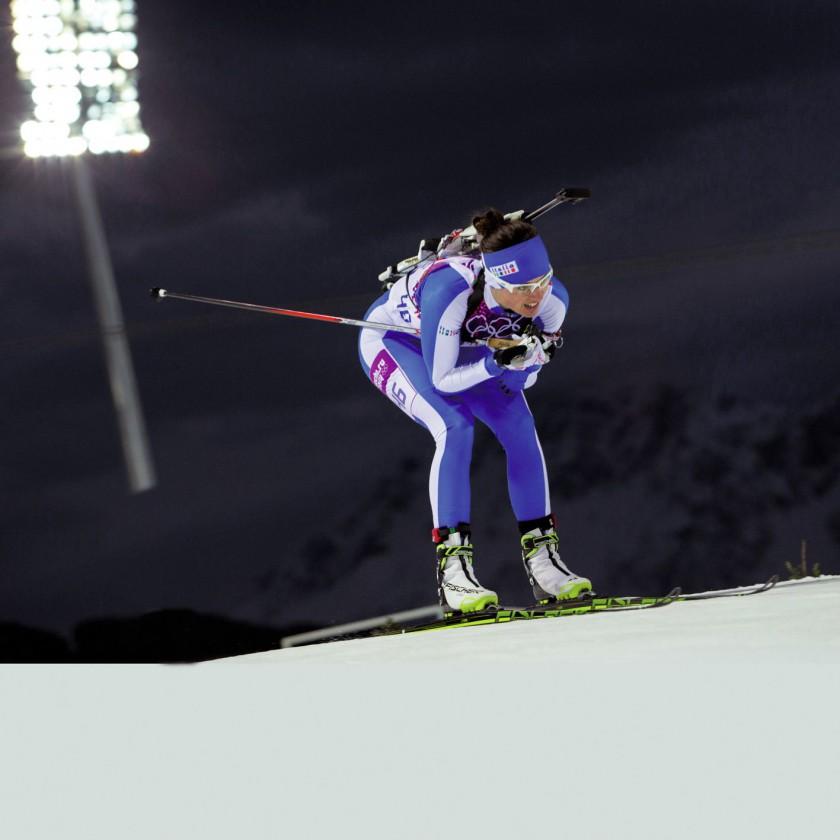 Karin Oberhofer ITA gewann Olympia-Bronze 2014 in Sotschi im Biathlon mit der Mixed Staffel