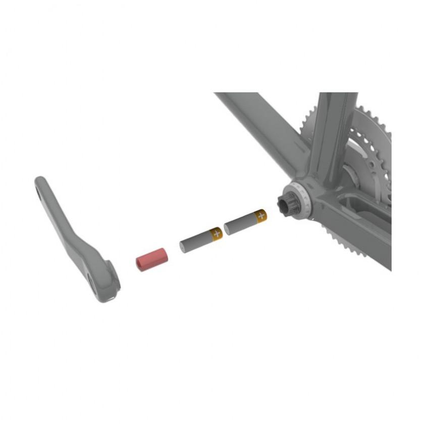 SRM PowerMeter FSA K-Force Light BB386 EVO UCB 2014: In der Achse finden 2 handelsübliche AA Batterien Platz