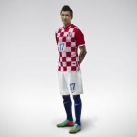Mario Mandzukic im Kroatien Heim-Outfit Trikot, Hose, Socken fr die Fuball-Weltmeisterschaft 2014 in Brasilien von NIKE