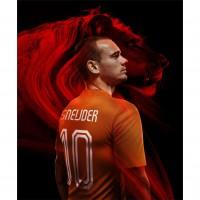 Wesley Sneijder im Niederlande Heim-Outfit Trikot fr die Fuball-Weltmeisterschaft 2014 in Brasilien von NIKE