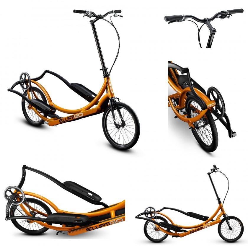 ElliptiGO 3C Outdoor-Crosstrainer Einstiegsmodell front, side, back orange 2014