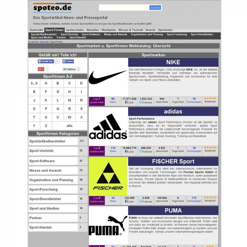 spoteo.de Firmenvereichnis: Die Sortierung erfolgt nach dem spoteo-Index