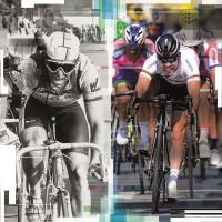 Greg Lemond mit  der Eyeshades Sportbrille 1985 u. Mark Cavendish mit der RadarLock Sportbrille 2012 von Oakley
