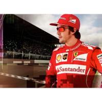 Ferrari Formel 1-Pilot Fernando Alonso mit der Scuderia Ferrari Carbon Blade Sportbrille 2014 von Oakley