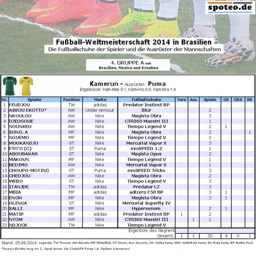 Fußball WM 2014 Team Kamerun: Die Fußballschuhe der Spieler