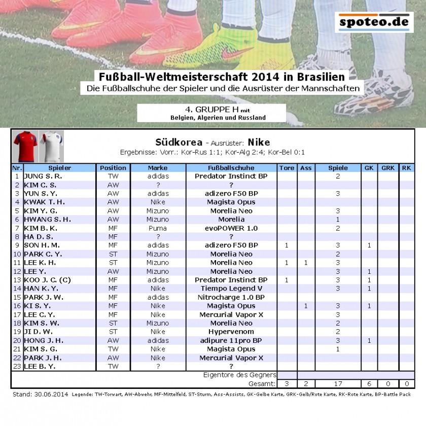 Fuball WM 2014 Team Sdkorea: Die Fuballschuhe der Spieler