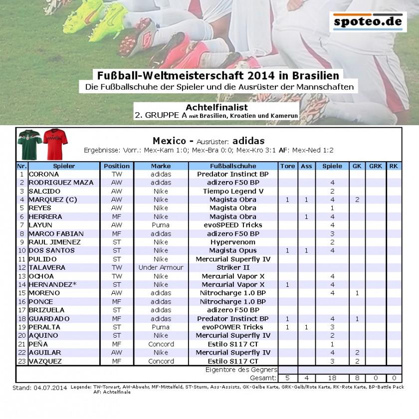 Fußball WM 2014 Team Mexico: Die Fußballschuhe der Spieler