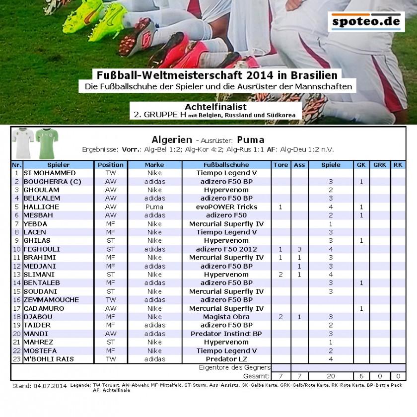 Fußball WM 2014 Team Algerien: Die Fußballschuhe der Spieler