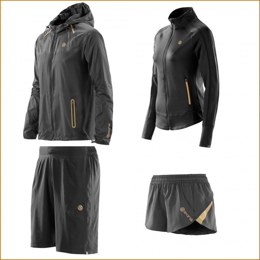 SKINS PLUS Kollektion 2015: Nano Jacket u. Evolve Shorts Men/WarmUp Jacket u. Rush Shorts Women