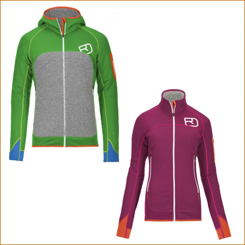 MERINO FLEECE PLUS Hoody Herren absolute-green u. Jacket Damen dark-very-berry 2015/16 von Ortovox