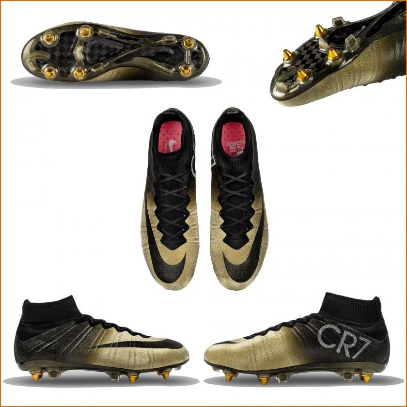 Mercurial CR7 Rare Gold sohle, oben, außen, innen 2015 von Nike