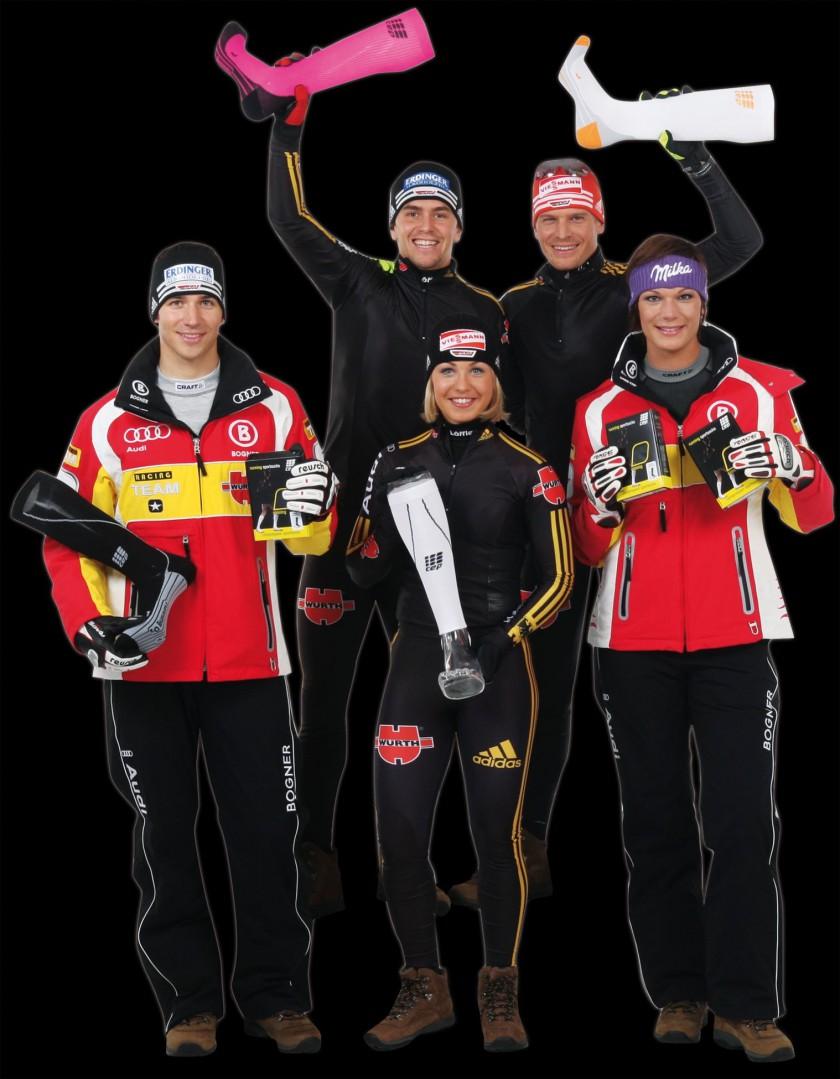 Skistars des DSV profitieren von den Kompressionssocken von CEP