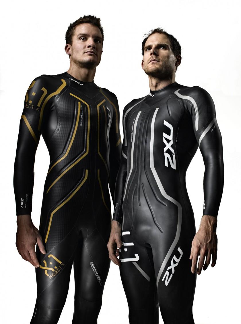 Olympiasieger Jan Frodeno im 2XU Project:X X:1 Wetsuit und Daniel Unger im V:1 Velocity Wetsuit