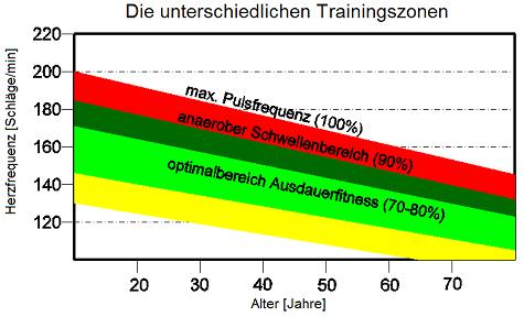 Mit steigendem Alter sinkt der Maximalpuls. Daraus ergeben sich in den verschiedenen Altersstufen unterschiedliche Pulswerte für die jeweiligen Trainingsbereiche.
